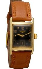 14K Gold Longines Swiss Watch | 17 Jewel, Rectangular, Glass Black Dial CA1940s