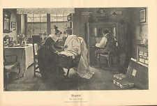 Mother, Father, Infant Child, Cradle, Family, Vintage 1890 German Antique Print
