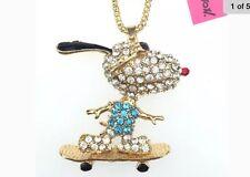 Betsey Johnson Necklace Snoopy Gold Blue Skateboarding Snoopy Dog Crystals