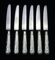 6 HEAVY VINTAGE SILVER PLATED KINGS PATTERN SHEFFIELD DINNER TABLE KNIVES 9.5""