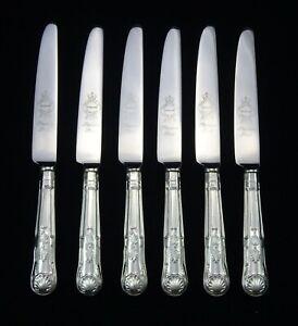 """6 HEAVY VINTAGE SILVER PLATED KINGS PATTERN SHEFFIELD DESSERT SIDE KNIVES 8.25"""""""