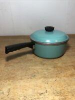 CLUB Turquoise Aqua Blue 3 Quart Sauce Pot Pan with Lid VINTAGE COOKWARE