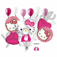 11 pc Sitting Hello Kitty Happy Birthday Face Balloon Bouquet Decoration Girl