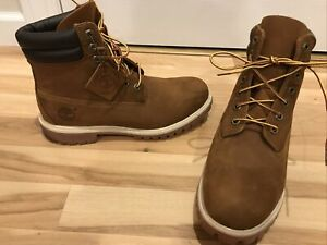 """New! TIMBERLAND 73542 Waterproof 6"""" Padded Collar Brown Boots Men's Size  8.5"""