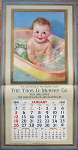 "Baby in Bath 1941 Advertising Calendar/15"" x 31"" Poster: Charlotte Becker/Artist"