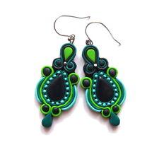 polymer clay handmade emerald green chandelier witch boho drop earrings jewelry