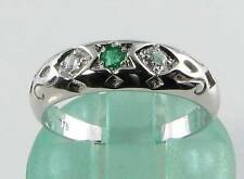 CRISP 9CT 9K WHITE GOLD STAR OF DAVID EMERALD & DIAMOND GYPSY RING FREE RESIZE