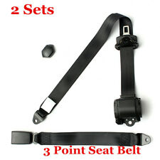 2 Set 3 Point Seat Belt Lap Safety Travel Retractable Car Truck Universal Black
