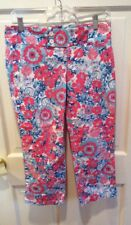 Lilly Pulitzer Pink & Blue Palm Beach Fit Cropped Pants, Size 4.