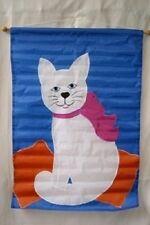 """28x40 Embroidered Sewn White Kitty Cat Appliqued Nylon Garden Flag 28""""x40"""""""