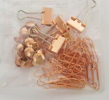 75 PIECE ROSE GOLD SET OF 5 X BINDER BULLDOG CLIPS + 30 PUSH PINS+ 40 PAPERCLIPS