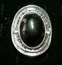 New fashion cocktail ring jewelry adjust black oval stone w/ clear silver-tone