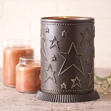 Electric Candle Warmer with punched Stars in Kettle Black Tin