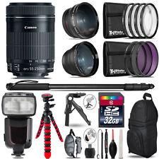 Canon 55-250mm IS STM - 3 Lens Kit + Professional Flash - 32GB Accessory Bundle