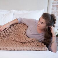 Winter Warm Hand Chunky Knitted Blanket Thick Yarn Merino Wool Bulky Knit Throw