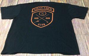 Salty Crew Rod and Gun Club Mens Black 2XL Tshirt Preowned
