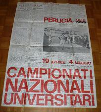 MANIFESTO PERUGIA 1910 1969 CAMPIONATI NAZIONALI UNIVERSITARI CONI CUS CUSI