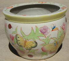Hand-Painted Butterfly Chinese Japanese Asian Laquer Lg Art Enamel Pot Planter