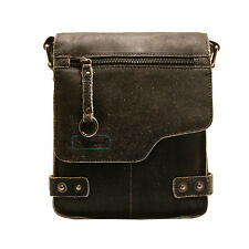 Ashwood - Small Antique Black Vintage Leather Camden Messenger Flight Bag