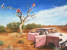 Outback Bush Art Painting  Australia Landscape COA car tree birds  By Jane