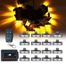 16In1 32W LED Amber Strobe Emergency Warn Deck Dash Grill Lights Remote Control