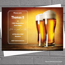 Mens Adult Birthday Stag Night Party Invitations x 12 + envs Beer Pint H1615