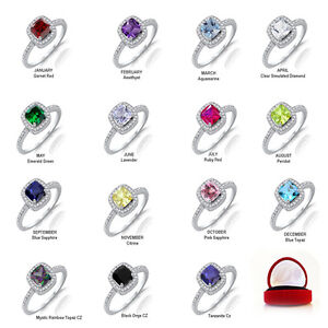 Princess Cut Engagement / Birthstone Sterling Silver Micro Pave Ring 2.10 Ctw