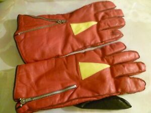 RETRO CLASSIC VINTAGE MOTORCYCLE LEATHER GAUNTLETS GLOVES RED BLACK LARGE