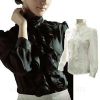 Womens ladies High Neck blouse Glamour shirt vintage satin Victorian Top Size