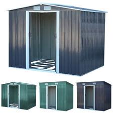 Apex/Flat Roof Garden Tool Storage Outdoor Tool Shed 2-Doors Galvanized Steel