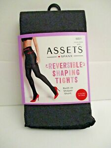 ASSETS by Spanx womens Reversible Shaping Tights Black and Dark Grey Size 1