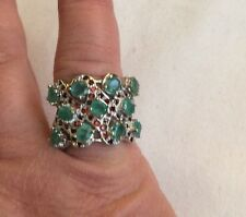 $599 GENUINE OVAL 5x4mmGREEN EMERALD-MOZAMBIQUE GarnetSTERLING 925 SILVER RING 9