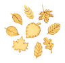 Autumn Leaf Themed Pack of 9 Shapes MDF Wooden Craft Weather Shape Embellishment