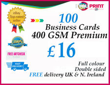 100 Business cards / 400gsm / Double Sided / FREE Delivery / Premium Quality