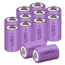 Purple Battery 12pcs 4/5 SubC Sub C 1.2V 2200mAh Ni-Cd Rechargeable Battery &Tab