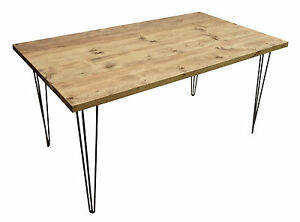 Kitchen Dining Table - Hairpin Legs - Vintage Industrial Rustic Reclaimed Pine