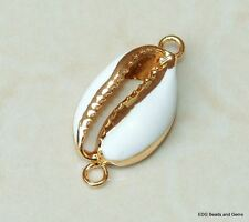 Gold Plated Cowrie Shell Connector - Natural Sea Shell - Money Shell Pendant