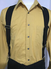 "New, Men's, Black,  XL, Adj., 2"", Side Clip Suspenders / Braces, Made in USA"