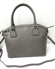 Authentic New Gucci Tote Charmy Zip Top Gray Leather  with Strap #449651, NWT