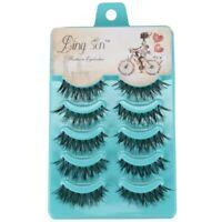 DINGSEN 5 Pairs Natural Messy Cross Eye Lashes Makeup Handmade Soft Black Fa GN5