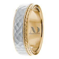 14K Two Tone Gold With Rope & Milgrain Design Wedding Band 7.5mm