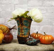 "Western Cowboy Brown Boot Flower Vase or Stationery Pen Pencil Holder 7"" High"