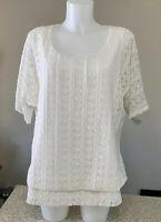 Women's Dressbarn Size 14/16 Eggshell Lace Blouse Top Shirt