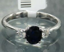 18CT WHITE GOLD 0.65ct SAPPHIRE 0.19CT DIAMOND 3 stone ENGAGEMENT RING Size N