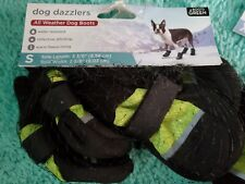 Dog Dazzlers All Weather Puppy Dog Boots Reflective Fleece Lined Small Green