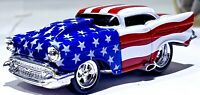 Muscle Machine 1957 CHEVY BEL AIR RED WHITE BLUE 1:64 Scale Diecast