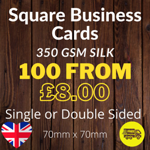 Square Business Cards Full Colour Single or Double Sided 350gsm Card 7cm x  7cm