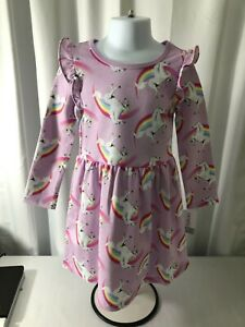 Carter's girls 4T dress purple long sleeve round neck unicorns and rainbows NWT