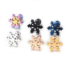 Titanium Steel Christmas Snowflake Petals Ball Men Women Ear stud Earrings 2pcs