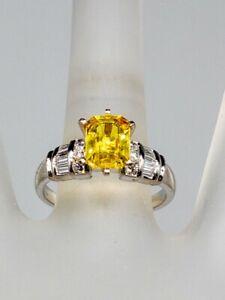 Designer $6000 4ct Natural Yellow Sapphire Diamond Platinum Wedding Ring 6g
